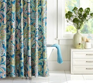 add a colorful shower curtain to add color to a bathroom