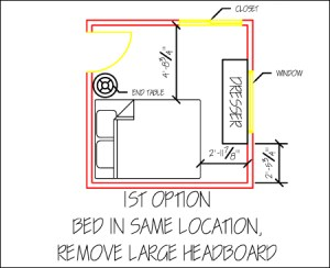 1st alternate option of a small, shared bedroom