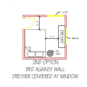 2nd alternate option for a small, shared bedroom