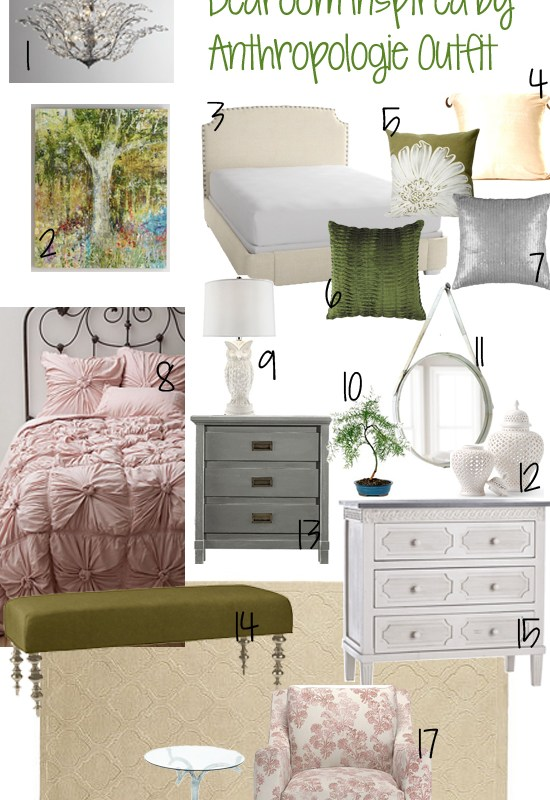 Pink and Green Design Board Inspired by Anthropologie Outfit