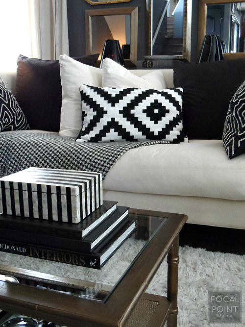 BLACK & WHITE LIVING ROOM LYNDA QUINTERO-DAVIDS FOCAL POINT STYLING  (2) 760