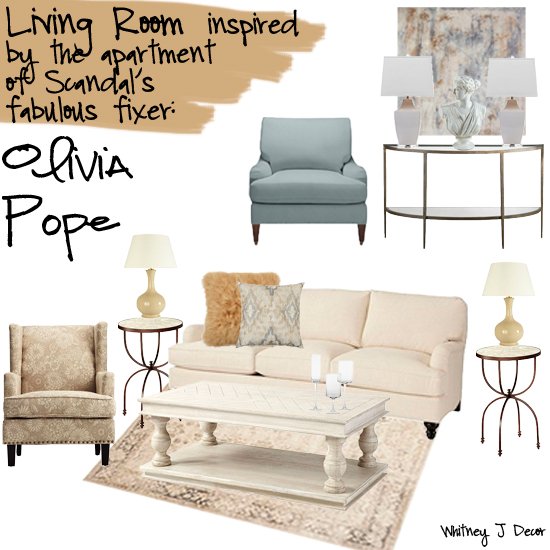 Living Room design board inspired by the apartment of Scandal's fabulous fixer, Olivia Pope.