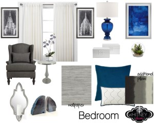 blue and gray bedroom transitional design style