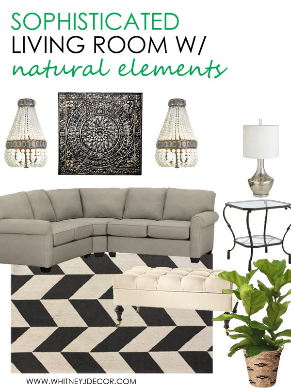 design board for a small living room - sophisticated with natural elements via whitneyjdecor.com