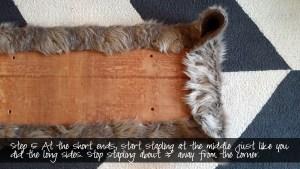 diy bench with gray fur