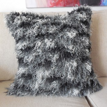 black and white faux fur pillow cover