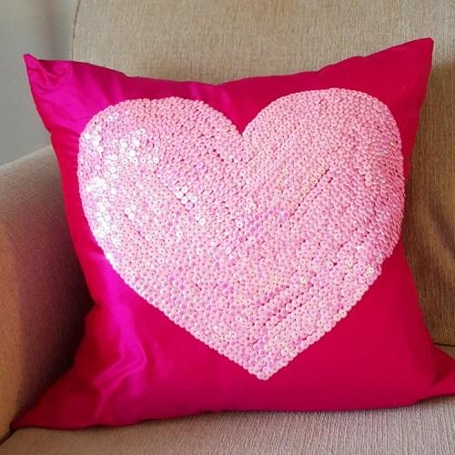 hot pink sequined heart pillow