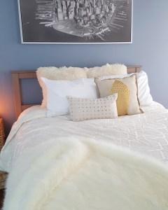 bedroom decor blue bedroom | fur pillows | fur throw