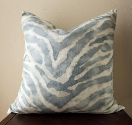 blue watercolor zebra print pillow | watercolor zebra print pillow | eclectic decor | blue living room | blue bedroom