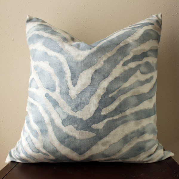 blue watercolor zebra print pillow | watercolor zebra print pillow | eclectic decor | blue living room | blue bedroom