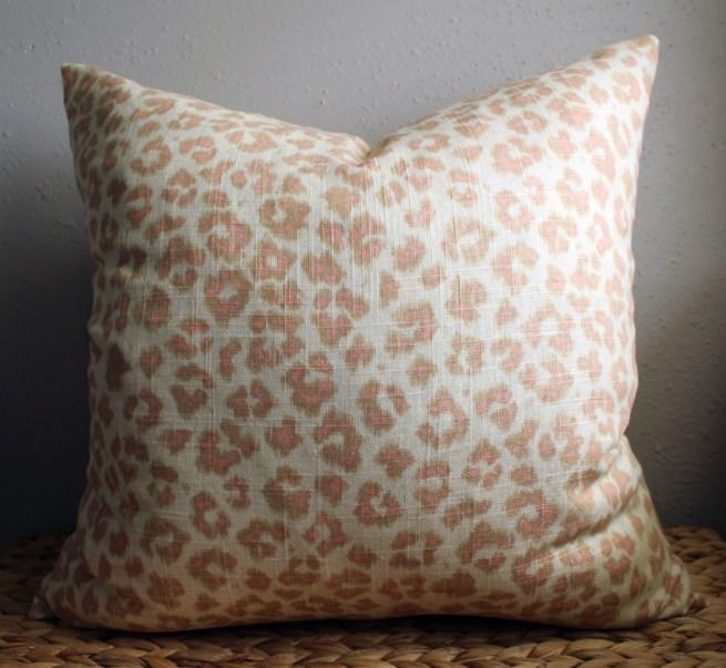 blush leopard print pillow