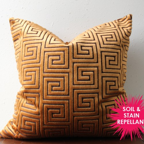 copper velvet greek key pillow | glamorous decor | copper decor | gold greek key | large greek key fabric