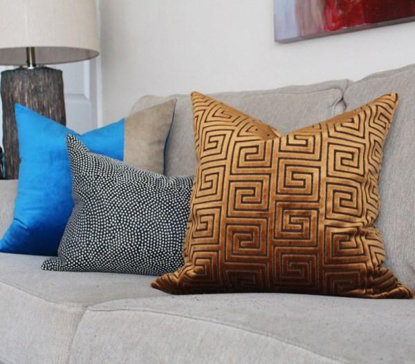 copper velvet greek key pillow | glamorous decor | copper decor | gold greek key | large greek key fabric