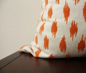 cream orange velvet pillow | orange velvet spots | eclectic decor | orange living room | orange bedroom
