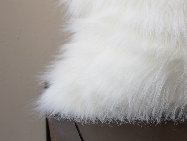 polar white faux fur pillow
