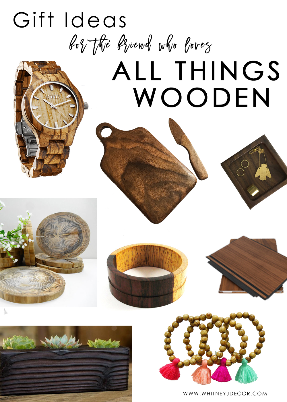 gift ideas for the friend who loves all things wooden | wooden gifts | wooden home decor | wood home decor | wooden fashion | wood fashion gifts