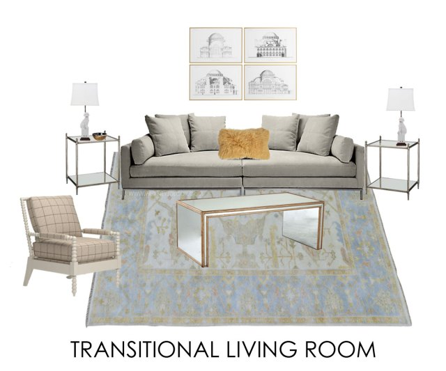 transitional living room with traditional rug   glam living room   neutral transitional living room   blue neutral living room   soft blue living room   oushak oriental rug