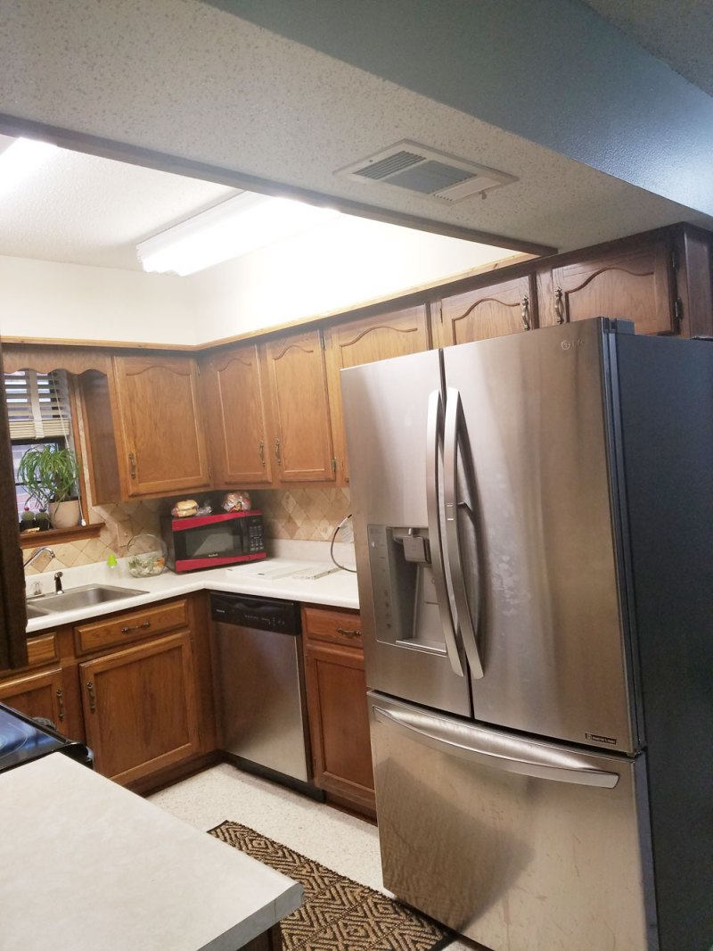 small kitchen decor plan | whitney j decor | kitchen before | white kitchen decor | one room challenge | popcorn ceiling before