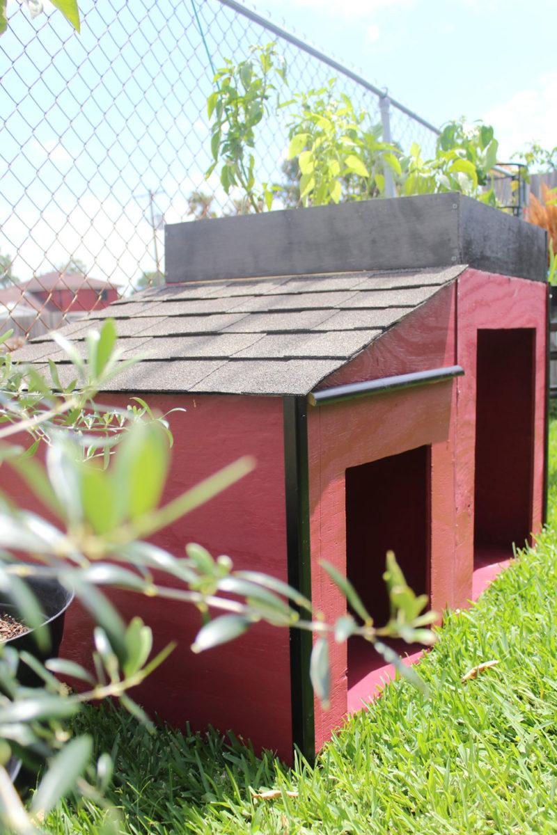 roofing a dog house | whitney J Decor blog | dog house diy | raised bed garden diy | garden and dog house | garden near a dog house