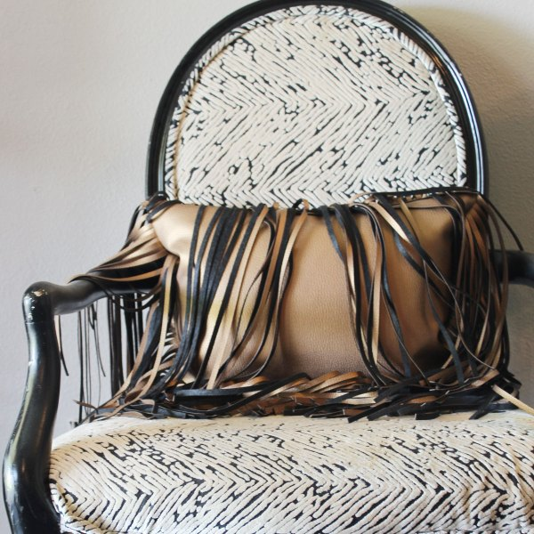 oversized fringe gold faux leather pillow