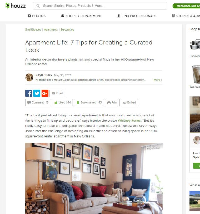 houzz small apartment feature | whitneyjdecor