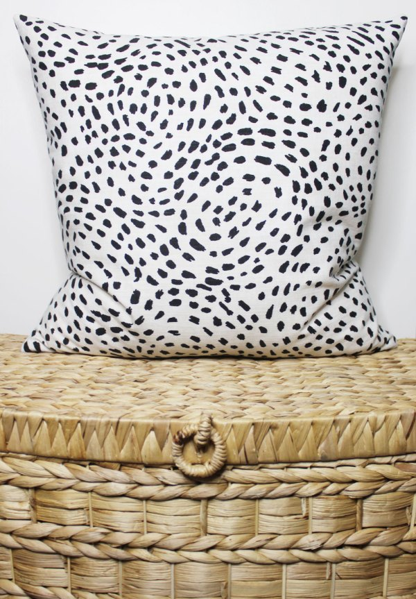 black and white dotted pillow | black and white dalmatian print | black and white bedding | black and white pillow