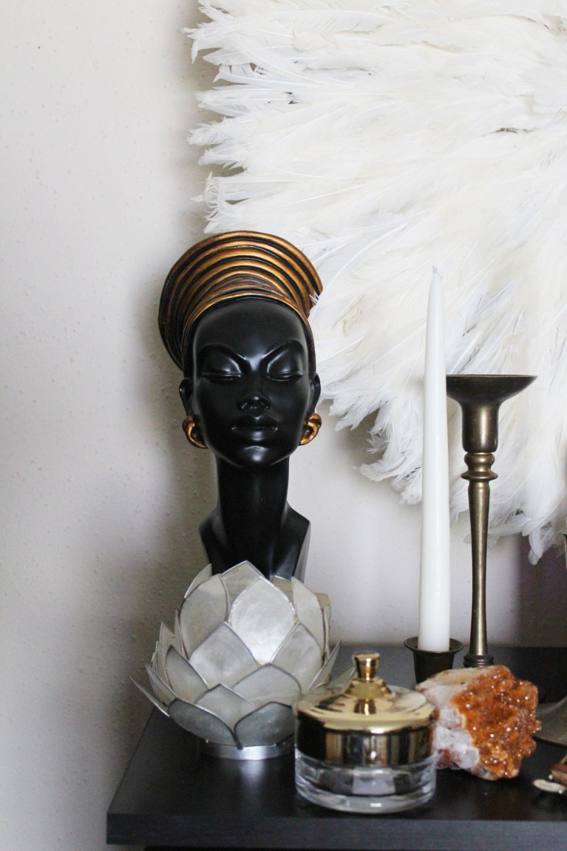 neutral eclectic bedroom | white juju hat | african woman sculpture | african woman small statue | sundays best