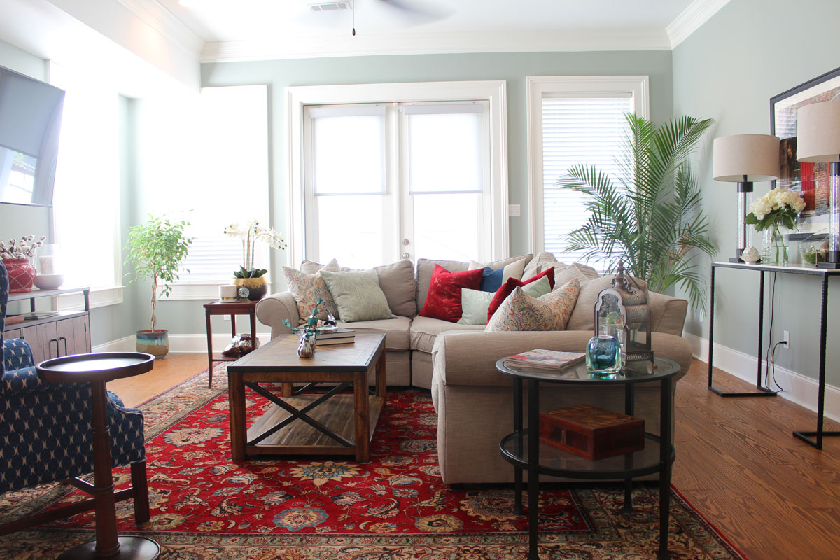 Red And Blue Transitional Living Room | Whitney J Decor | New Orleans Homes  | Nola