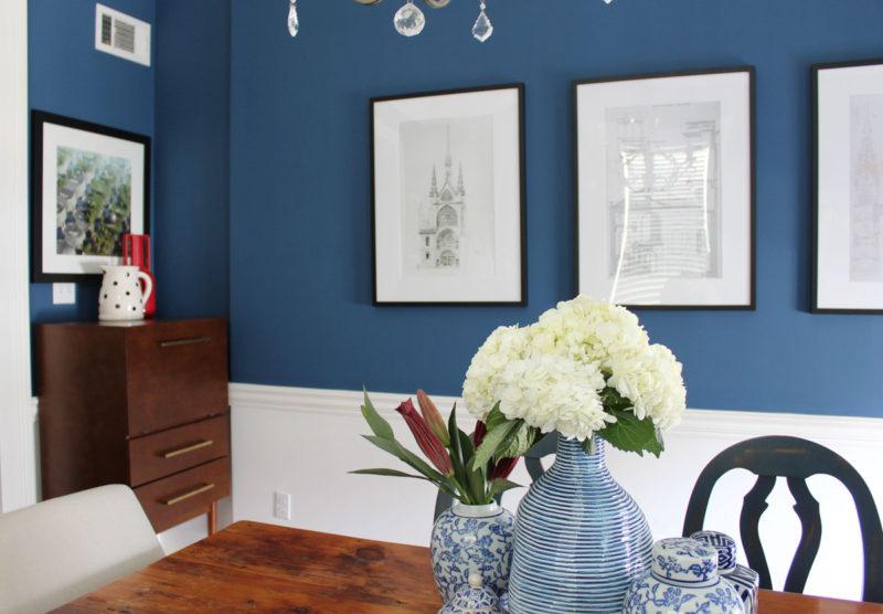 blue transitional dining room