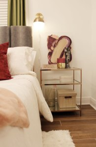 colorful guest bedroom with white walls