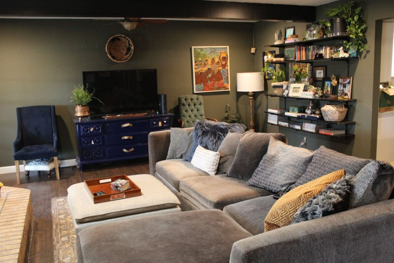 whitney j decor | my living room progress | green walls in dining room | green living room | wall shelving | track shelving