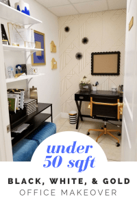 tiny black, white, and gold office transformation   glam office under 50 sqft   tiny office design   small office design   small home office   tiny home office   blue home office   real estate decor   whitney j decor   new orleans decor   new orleans interior designer   black interior designer   nola homes   nola interior designer   new orleans decorator   new orleans interior designer