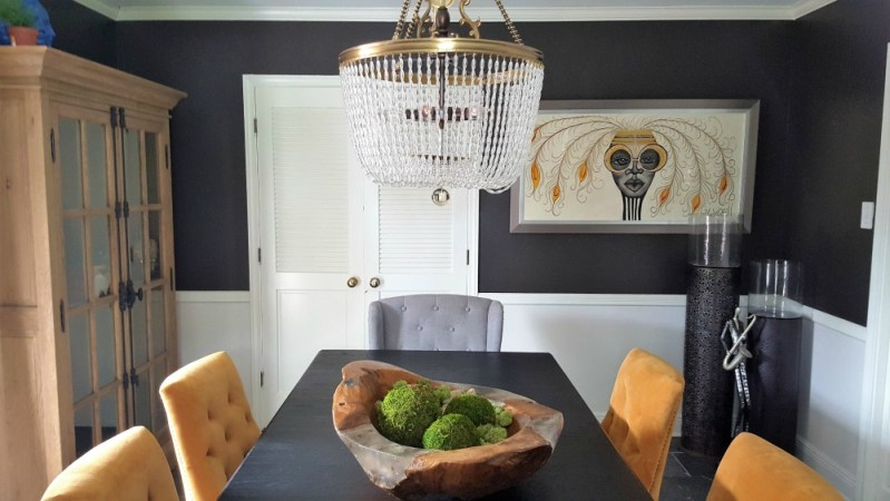 dining room | whitney j decor | how to elevate your home decor in 2019 | black and gold dining room | black dining room | new orleans interior designer | new orleans decorator