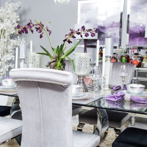 purple and gray dining room