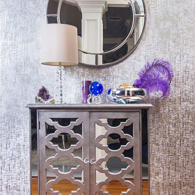 gray and purple entryway