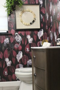 bold wallpaper in a laundry room