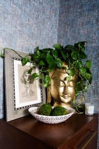 gold buddha head planter