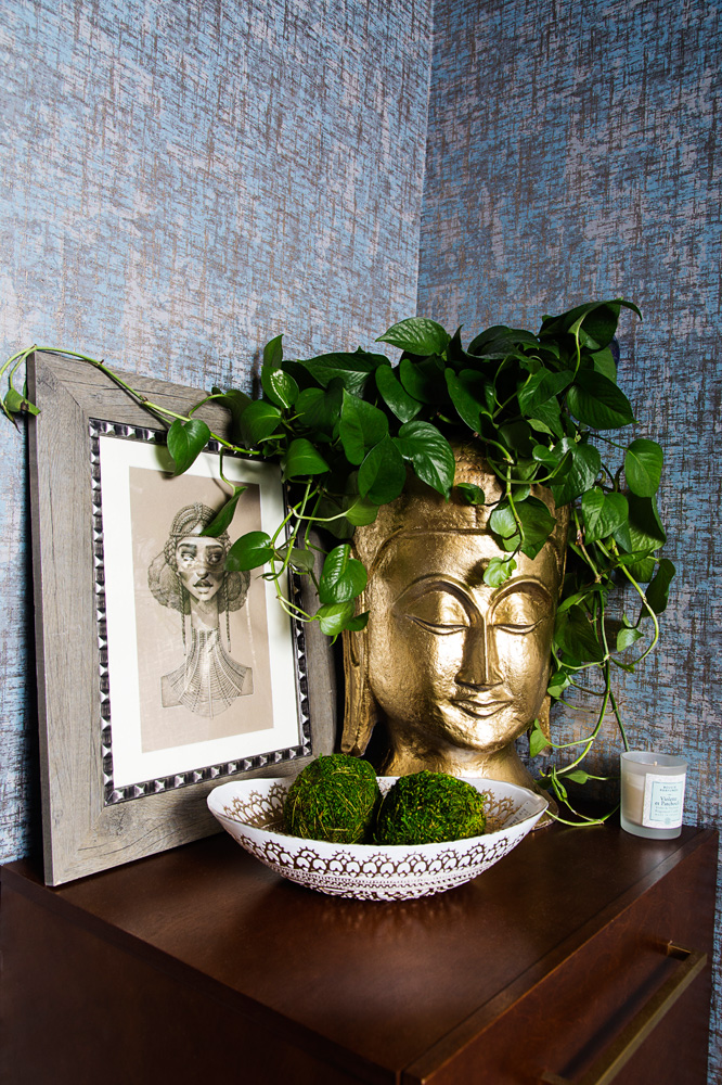 gold buddha head planter