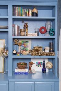 light blue built in bookcase