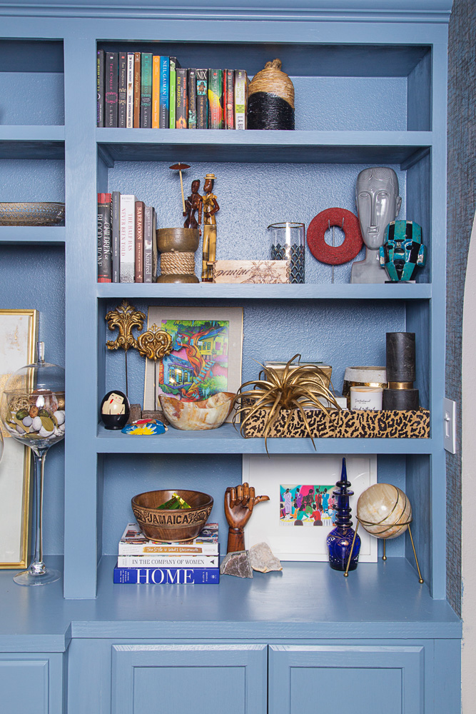 light blue built in bookcase