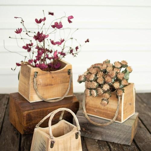 wooden handbag planters