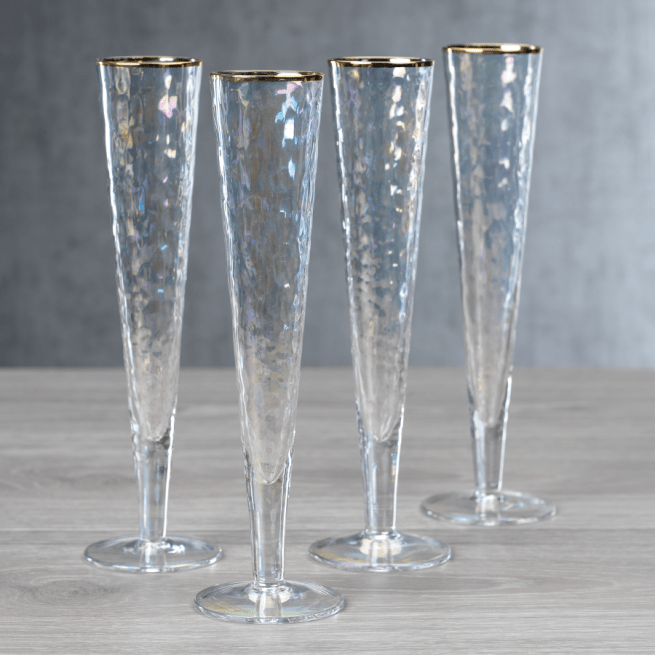 iridescent champagne glass