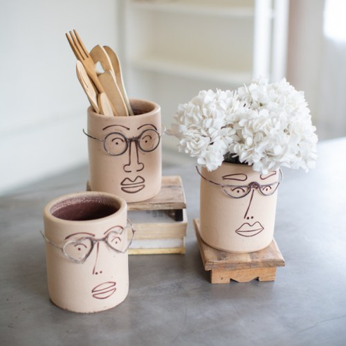 clay face planters with wire glasses - assorted