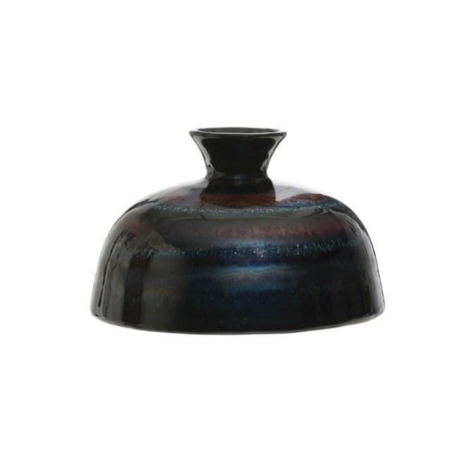stoneware vase reactive glaze blue metallic