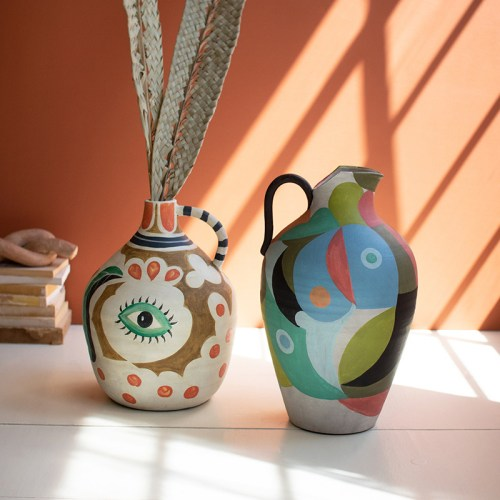 Ceramic multi colored pitcher