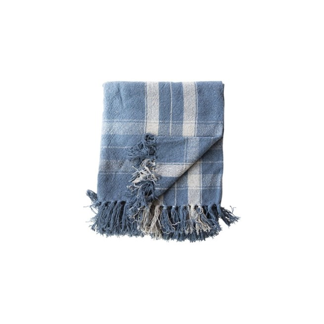 woven recycled cotton blend throw w/ fringe, blue plaid