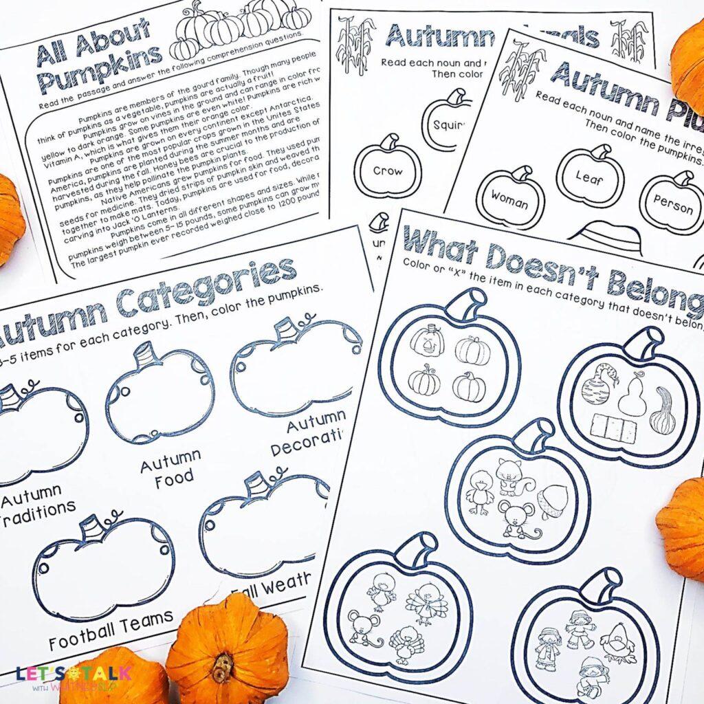 Pumpkin Activities For Speech Therapy