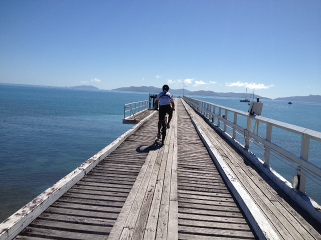 Leaving the island, riding out along the jetty back onto the barge