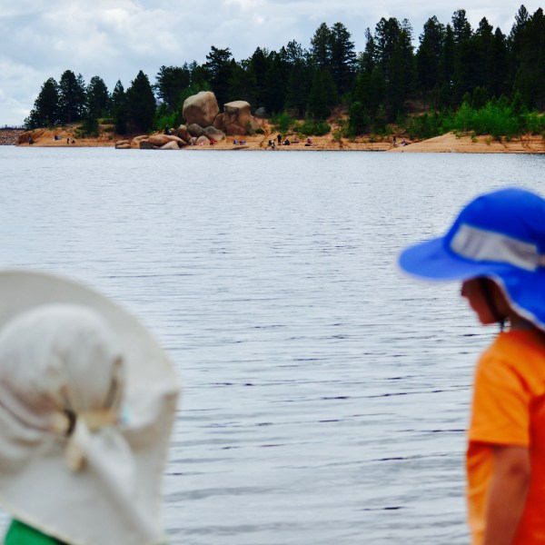 Two toddler boys standing out overlooking a lake with their sun hats on.