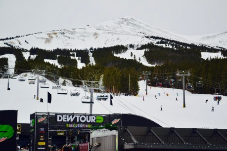 Watching the Dew Tour action from the lodge at Breckenridge Mountain Resort.